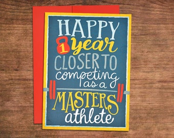 Almost a Masters Athlete Crossfit Birthday Card - Weightlifting, Powerlifting, Barbell, Fitness