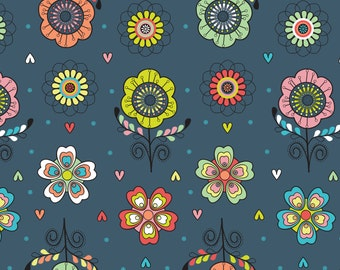 SALE ! Navy Floral <  Petite Plume Collection by Camelot Fabrics < Fabric by the Yard >  Flowers in Bright Colors