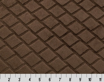 End of Bolt SALE 30 inches left  < Brown Minky from Shannon Fabrics > Embossed Diamond Cuddle ® Brown < Diamond Embossed >  by the Yard