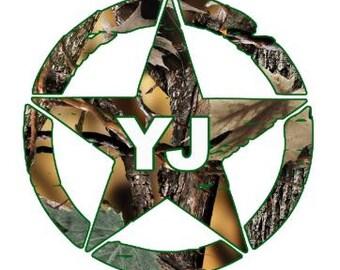 Jeep Military Army Star YJ  Camo edition window decal.