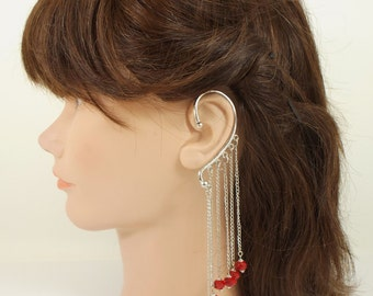 Red Faceted Crystal Chain Ear Cuff with Bead Caps Non Pierced Single Earring Retro Boho