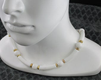 Vintage white and gold bead necklace