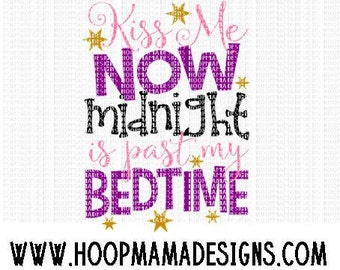 Kiss Me Now, Midnight Is Past My Bedtime SVG DXF EPS and png Files for Cutting Machines Cameo or Cricut - Valentines Day