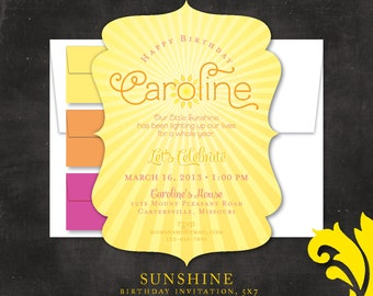SUNSHINE . birthday invitation