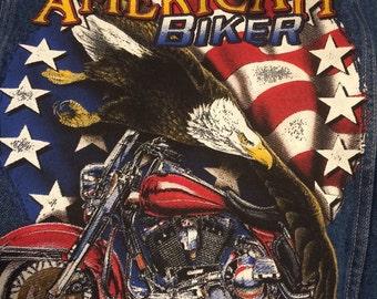 Wrangler hero American biker blue jean vest, mans sz XL