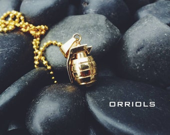 Grenade Necklace Stainless Steel Pendant Gold