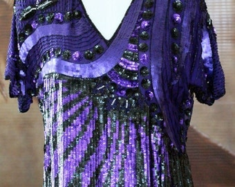 Vintage Candlelight by Jainsons International Beaded Sequin Blouse Top  // Purple Black Shiny Fancy POP Sequined Scalloped Hem Blouse