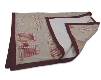 PIAF - Decke, french quilt, Baby, Kuscheldecke, french fabric,rot, quilt, handmade, toile de jouy, french, Sommerdecke, cotton, 100x150 cm