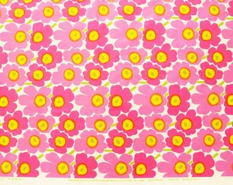 Marimekko fabric, pink/yellow/white Mini Unikko, 145x50cm by Maija Isola