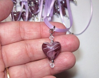 On Sale Heart Purple heart glass pendant necklace Valentine Sale was 5.00 now 2.50