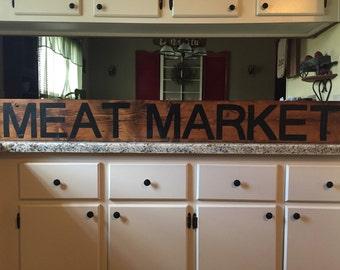 MEAT MARKET sign, butcher shop sign, Grocery sign, farmhouse sign, Deli sign