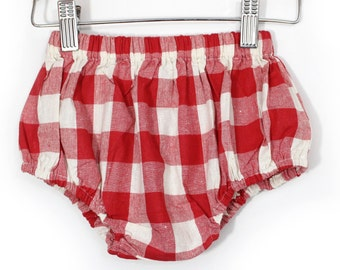 Rad Plaid bubble BLOOMER in red - BABY GIRL
