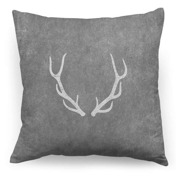 Antler Throw Pillow : Antler Pillow Antler on Grey Throw Pillow Cover