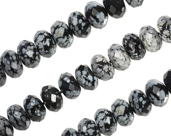 16 IN Strand 7 mm Snowflake Obsidian Rondelle Faceted Gemstone Beads (SFJRLF0008)