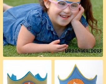 "Waldorf inspired felt Birthday Crown 'Cupcake"" Eco Friendly Handmade Party Idea"