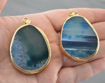 Ocean Blue Green Agate Slice Pendant - Large Natural Agate Druzy Gemstone Gold Wrapped Pendant - Statement Necklace