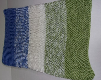 Hand Knitted Soft Baby Blanket Sage Green, White and Blue