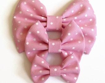 Pink Polka Dot Hair Bow - Fabric Hair Bow - Pink Fabric Bow - Polka Dot Hair Bow - Girls Hair Bow - Pink Hair Bow - Summer Hair Bow
