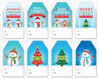 "Christmas Tags Printable: ""CHRISTMAS GIFT Tags"" Merry Christmas Tags, Holiday Gift Tags, Christmas Labels, Christmas Decoration"