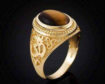 Gold Om Oval Tiger Eye Cabochon Yoga Ring (yellow, white, rose gold, 10k, 14k)