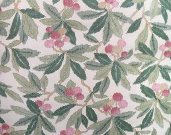 Motif Vintage Wallpaper Leaves Berries Cherries Red Green