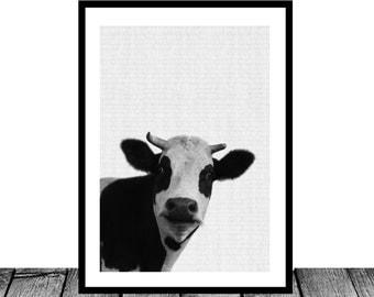 Cow Print, Farm Animal Wall Art, Black and White Cow, Animal Print, Printable Art, Nursery Farm Animal Print, Black and White Nursery Decor