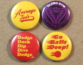 Dodgeball Movie Fan Art 4 1 Inch Button Set