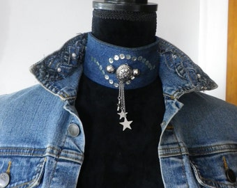 Denim choker embellished with silver beads and sequins