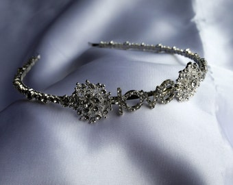 Handmade Tiara /headband with love rhinestone and diamantes for wedding / prom / occasion