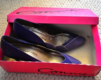 Vintage 1980s Suede and Leather Purple Connie Shoes Womens 7 1/2