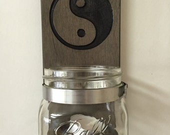 Mason Jar Wall Sconce - Yin and Yang