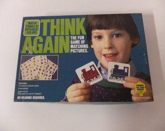 Extremely Rare Pressman Vintage Think Again Memory Match Game Match Colors and Pictures