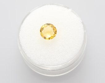Natural Round Checkerboard Cut Citrine 1.4 Carats 7.12 mm x 4.46 mm Loose Gemstone November Birthstone