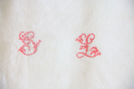 Set of Three Large Antique/Vintage French Kitchen Towels with  Hand Embroidered Monogram