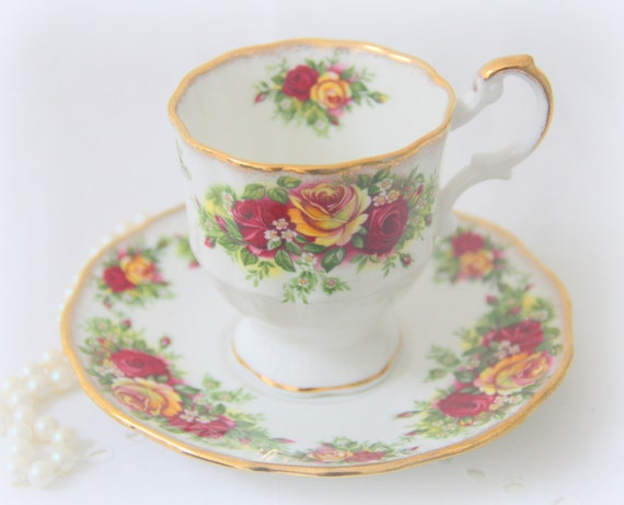 Vintage Rosina Bone China Cup and Saucer, Yellow and Red Rose Decor, England