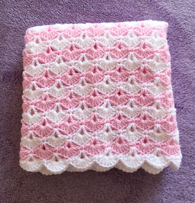 Manta del beb rosa y blanco otros colores disponibles - Manta de bebe a ganchillo ...