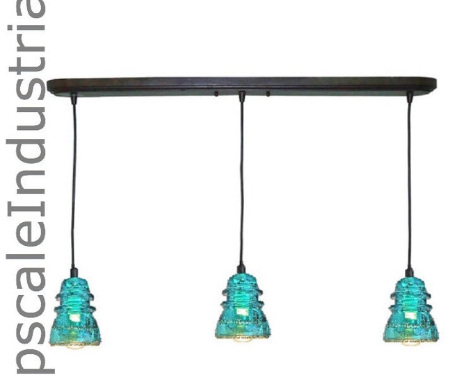 Featured listing image: Rustic Chandelier/Industrial Chandelier/Kitchen Island/Pendant Light/Lighting/VINTAGE 1920's-60' Repurposed Glass Insulator Pendant Lighting