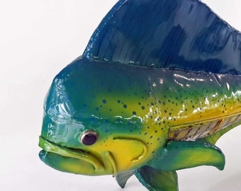 Mahi Mahi, Dolphin, Fish,  Copper and Stained Glass Sculpture, Airbrushed