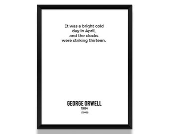 1984 Poster, Opening Lines Poster, Literature Poster, 1984, George Orwell Poster, Literary Gift, Sci-Fi Poster, Literary Art