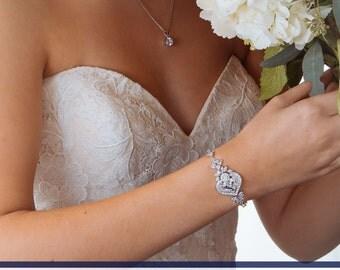 Wedding Bracelet, Bridal Bracelet, Crystal Bracelet, Wedding Jewelry, Bridal Jewelry, Swarovski Crystal Wedding Bracelet Accessory Jewelry