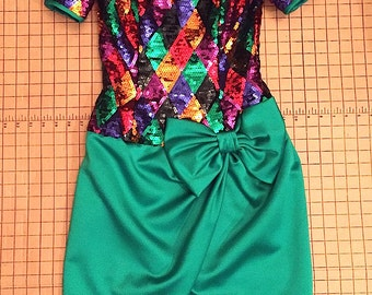 Vintage 1980s Harlequin Sequin Multi-Colored Party Dress