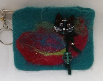 Felted Cat Coin Purse