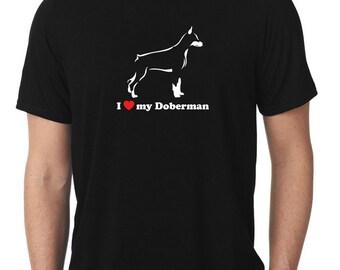 I Love My Doberman T-Shirt pincscher dobie T498