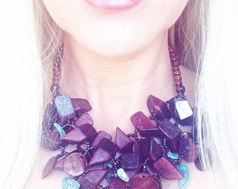 Nala wood and turquoise tribal necklace