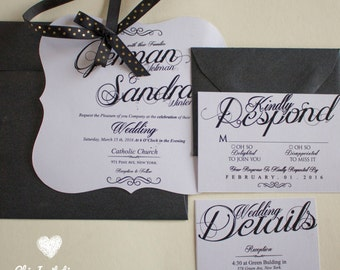 Luxury  Wedding Invitation White and Black Wedding Invitation (50 INVITATIONS)