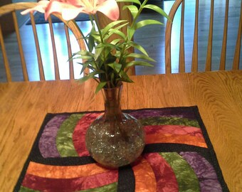 Whirling Quilted Table Topper
