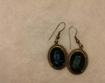 Vintage oval owl earrings