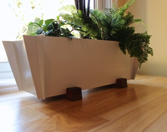 Free Shipping!, Modern Planter, Contemporary Herb, Steel and Wood Bonsai, Minimalist Design, Metal Garden, Window Planter, Bitcoin Accepted
