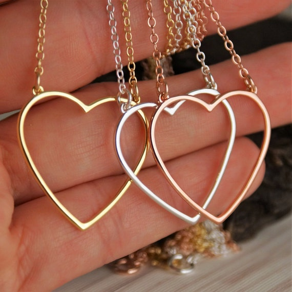 Open Heart Necklace in 14K Rose Gold plated, Gold plated or Sterling Silver Necklace - Everyday necklace - Delicate Layered Necklace