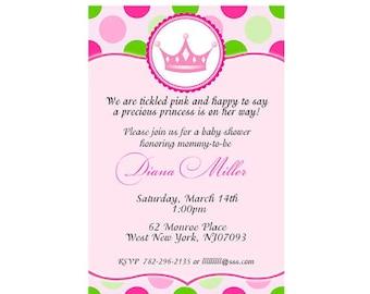 Baby Shower princess pink polka dots Invitations Cards -You print